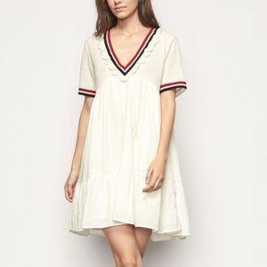 Ba&sh Desert Cream Lace Swing Tiered Shirt Dress